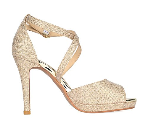 Sandals Heeled DREAM Stilettos 10 GAL GOLD Fashion Women's GLITTER PAIRS OXxOqYg