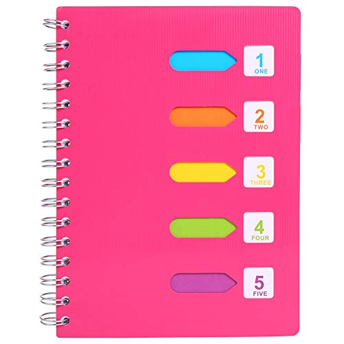 5 Subject Notebook, A5 Notebooks and Journals Spiral Bund, Wide Ruled, Lab Professional Notepad, Colored Dividers With Tabs, 5.7