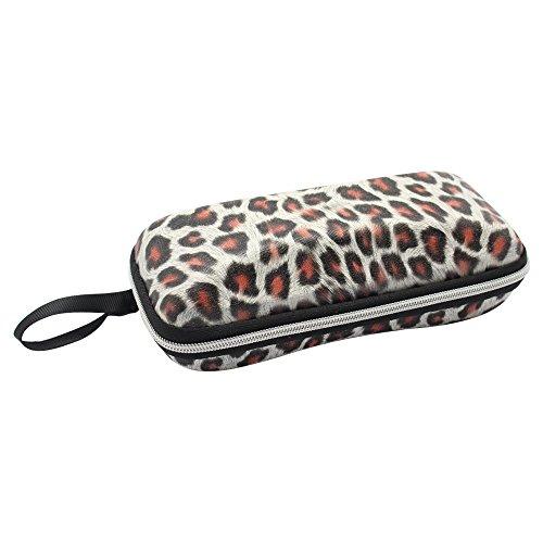 Hysagtek Portable Travel Zipper Sunglasses Hard Case Eyes Glasses Box with Strap Leopard - Glasses Leopard Print Case