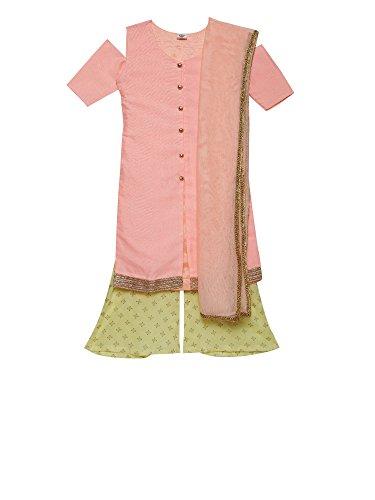 - K&U Girls' Peach & Yellow Art Raw Silk Indian Palazzo Kurta Set