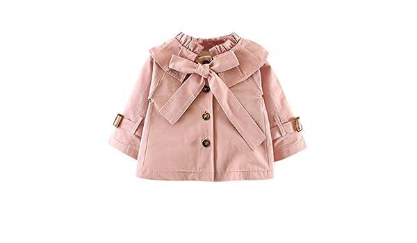 Hibote Bebés niña Chaqueta Princesa Cotton Arco Corbatas Trench Coat Manga Larga: Amazon.es: Ropa y accesorios