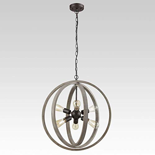 Modern Rustic Six Light Wood Orb Pendant with Antique Grey Wash Finish and Bronze Base ()
