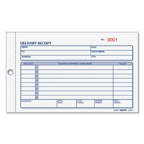 "Rediform Delivery Receipt Book, 4.25 x 6.375"", 50 Pages (..."
