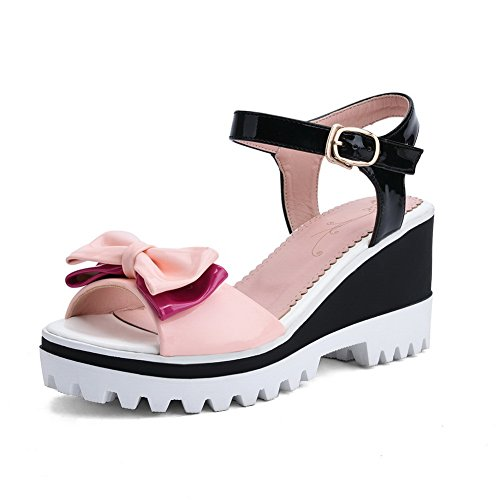 AdeeSu Womens Bows Wedges Platform Metal Buckles Patent-Leather Platforms Sandals SLC03590 Pink ZDaSmw