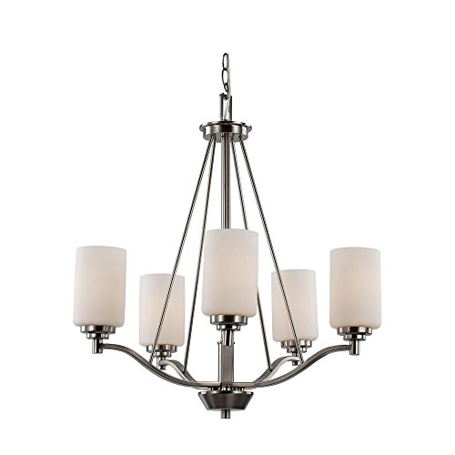 Bel Air Lighting Mod Pod 5-Light Polished Chrome Chandelier with Opal Shade