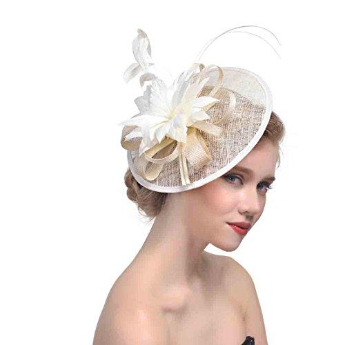 Daisiny Women's Luxury Tea Party Derby Headwear (Rice white) ()