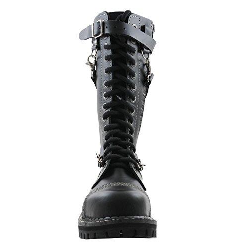 36 Cuero Itch Ziper Angry Botas de in goticas Hecho EU 48 Nero Agujeros con 14 Numéros Punk 07vrx0d
