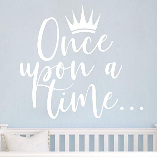 JURUOXIN Once Upon a time with Crown Wall Sticker Art Vinyl Home Quote Decals for Kids Girl Princess Room Nursery Decoration House Interior Design YMX38 (White, 42X38CM)