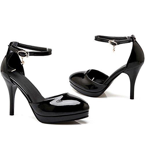 TAOFFEN Mujer Elegante Tacon De Aguja Sandalias Tacon Alto Al Tobillo Fiesta Zapatos Negro