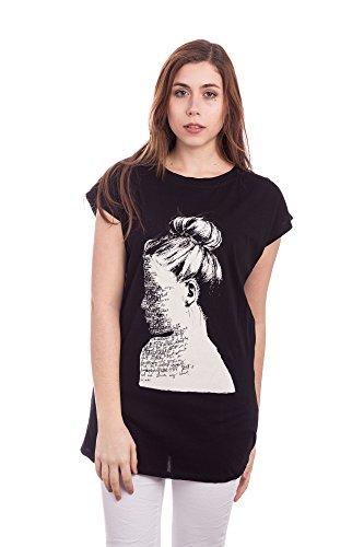 Abbino 016-1 Camisetas Tops Camisas para Mujer - Hecho en ITALIA - 2 Colores - Entretiempo Primavera Verano Otoño Casual Chica Vintage Fiesta Elegantes Fitness Interiores Rebajas Manga Corta Negro (Art. 016-1)