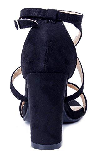 Sandali Aperta con Tacco Nero AgeeMi Punta Fibbia Scarpe Donna Shoes qxF0wFA8