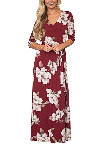Womens Summer 3/4 Sleeve V Neck Floral Print Faux Wrap Maxi Long Dresses with Belt wine red M