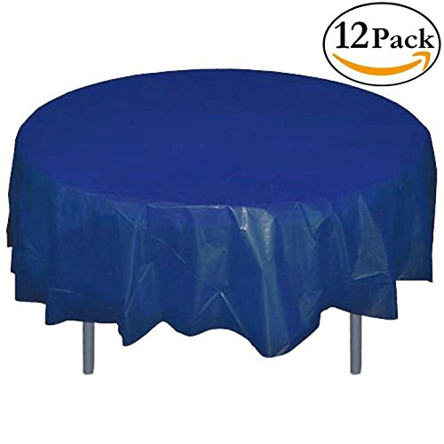 12-Pack Premium Plastic Tablecloth 84in. Round Table Cover - Navy Blue (Clothes Table Blue)