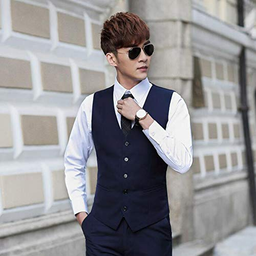 Hombre Gentleman Mangas De Sin Wedding Casual Chalecos Business Party Vintage Slim Fit Trajes Navy 5xAqwU7w