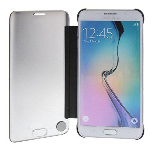 MEIRISHUN Caja del Teléfono Celular Caso Funda ,la alta calidad de Protective Plastic Back Cubrir ContraportadaFlip Case As a Mirror para Samsung Galaxy S6 edge+ [Azul ] Marrón