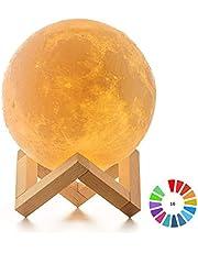 Lámpara Luna 3D, ICONNTECHS Brillo Regulable 16 Colores RGB Recargable USB Control remoto y Control táctil LED Lunar Luz Nocturna Decorativa para Dormitorio, Salón, Regalo para Mujeres y Niños 15cm, L