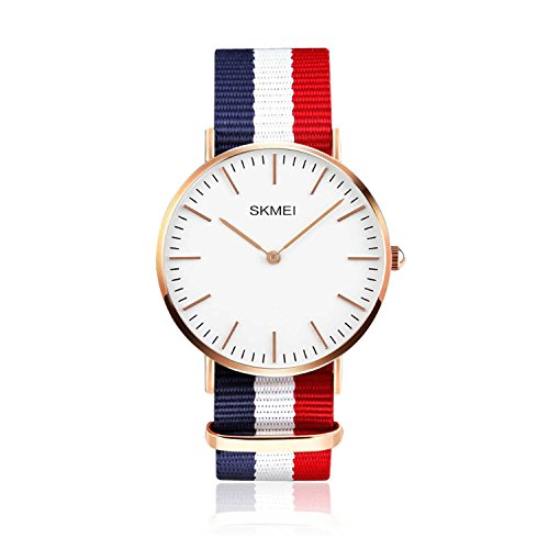 Men's Nylon Strap Watch Unique Analog Quartz Waterproof Business Casual Big Face Dress Wrist Watch with Blue White Red Striped Canvas Band