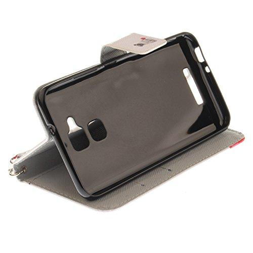 Funda Asus Zenfone 3 MAX ZC520TL,SainCat Funda de cuero sintético tipo billetera con correa de cordón de Suave PU Carcasa Con Tapa y Cartera,Ranuras para Tarjetas y Billetera Funda de Flip Ranuras Tar Perro pug