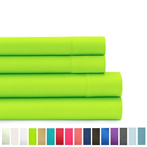 - American Home Collection Deluxe 4 Piece Bed Sheet Sets Highest Quality of Brushed Microfiber Wrinkle Resistant Silky Soft Touch (Full, Lime Green)