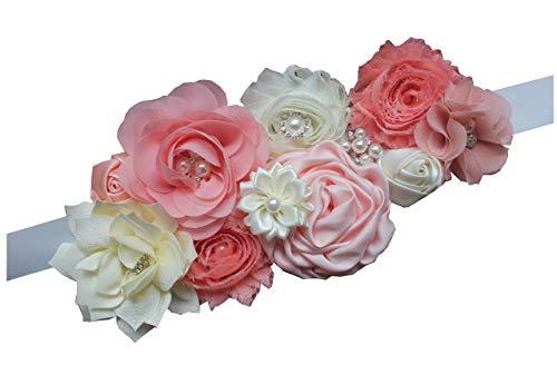 - Maternity pregnancy sash for Mon to be baby shower sash flower sash (Peach)