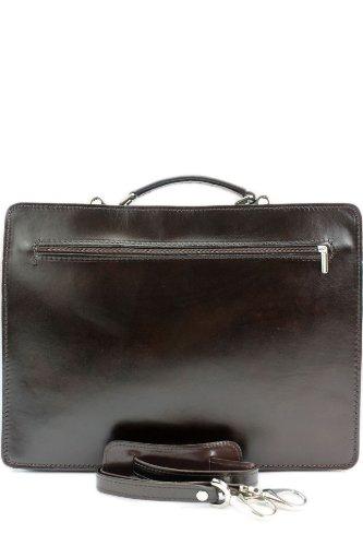 modamoda de - ital. Aktentasche Leder Aktenkoffer Tasche Koffer Glattleder & Lackleder in Kroko Prägung Akten Business NL01, Präzise Farbe:Dunkelbraun
