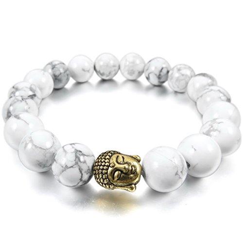 INBLUE Women,Men's 10mm Alloy Energy Bracelet Link Wrist Energy Stone Gold Tone White Simulated Howlite Turquoise Buddha Mala Bead Elastic (Buddha Costume)