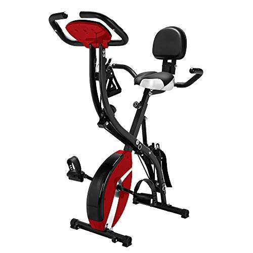 NewMultis 3-in-1 Folding Exercise Bike Upright Bicycle for Cardio Workout & Strength Training Fitness (Red)