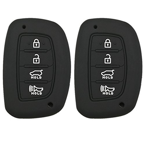 Coolbestda 2Pcs Rubber Key Fob Remote Cover Keyless Entry Jacket Holder for 2018 2017 2016 Hyundai Tucson Elantra Sonata 4Buttons (NOT FIT Flip/Pop Out/Folding Key (Sonata Cover Hyundai)