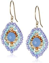 "Blue Quartz and Topaz Hydro Lotus Drop Earrings, 1.4"""