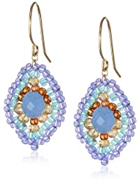 """Miguel Ases Blue Quartz and Topaz Hydro Lotus Drop Earrings, 1.4"""""""