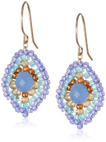 Miguel Ases Blue Quartz and Topaz Hydro Lotus Drop Earrings, (Blue Quartz Earrings)