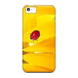 Iphone 5c Hard Back With Bumper Silicone Gel Tpu Case Cover Sunflower Ladybug