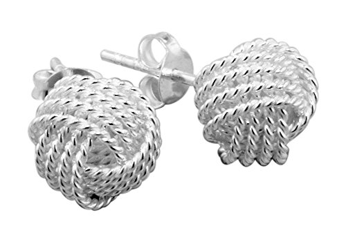 Designer Inspired Sterling Silver Rope Knot Stud Earrings - Tiffany Knot Ring