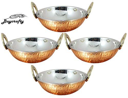 Buycrafty Set of 4, Indian Copper Serveware Karahi Vegetable Dinner Bowl with Handle for Indian Food, Diameter 13 Cm…