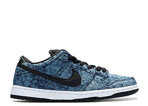 Nike Mens Dunk Low Premium Cinturino Alla Moda In Pelle Alla Caviglia Low-cost Blu Notte, Nero-bianco