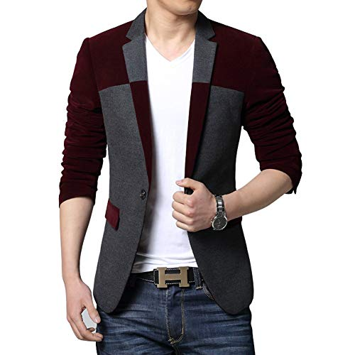 MOGU Mens Slim Fit One Button Wool Blazer Jacket US Size 44 (Lable Asian Size 6XL) Wine Red ()