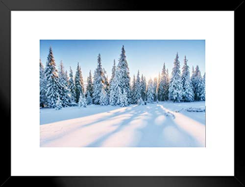 Magical Snowy Sunset Winter Forest Landscape Photo Matted Framed Wall Art Print 26x20 inch ()