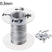 100m 304 roestvrij stalen kabel Soft Vissen Lifting kabel 1 × 7 waslijn met 30 Aluminium Ferrules D08F (Size : 0.3mm)