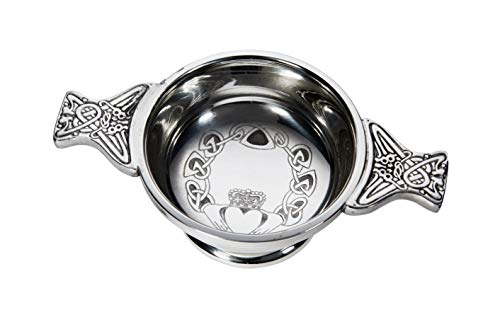 (Wentworth Pewter - Small Claddagh Pewter Quaich Whisky Tasting Bowl Loving Cup Burns Night)