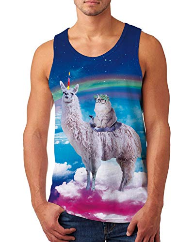uideazone Funny Tank Tops for Men Spectacle Cat Alpaca Printed Tee Shirt Sleeveless Bodybuilding Shirt Gym Singlet Fitness Sport Vest -