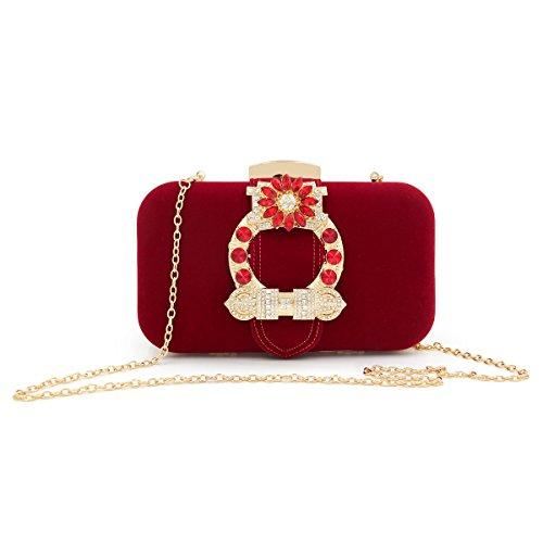pour boucle femme sac à Flada strass embrayage sac sacs Rouge rouge dames soirée fleur flanelle main pECwPXqw