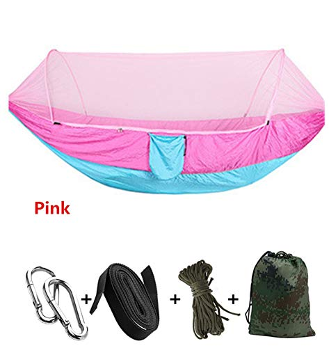 OASIS LAND Automatic unfolding Hammock Ultralight Parachute Hammock Hunting Mosquito net Double Lifting Outdoor Furniture Hammock 250X120CM,Pink (Lb Hammock Capacity 800)