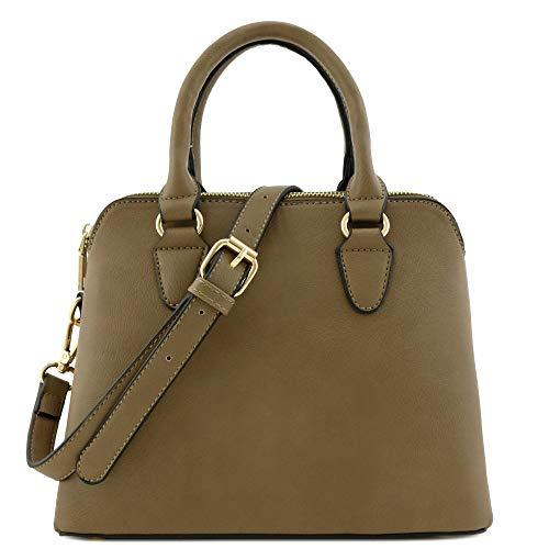 Classic Double Zip Top Handle Dome Satchel Bag ()