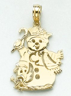 14k Yellow Gold Holiday Charm Pendant Christmas Snowman Cut-out
