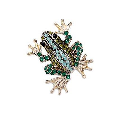 Woogge Women's Fashion Cute Crystal Rhinestone Frog Brooch (green) (Rhinestone Frog)