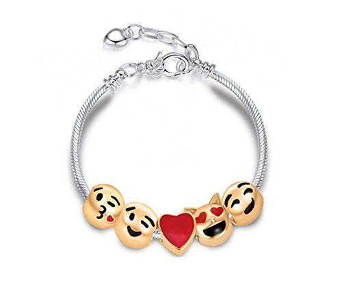 Emoji Emoticon Charm Adjustable Bracelet Heart Kiss Love Sending My Kisses and Love to You Funny Witty Gorgeous Valentines Gift for Her Teen Mom Kid Wife Girlfriend Love Interest