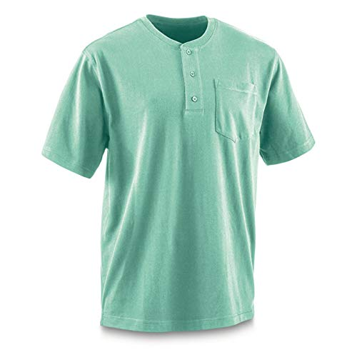 Guide Gear Men's Stain Kicker Henley Pocket T Shirt with Teflon, Turquoise, XL