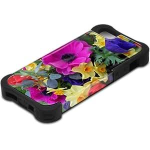 Flores 10091, Campos de Flores, Design Negro Caso Carcasa Funda de Silicona Hybrid Armor Protección Case Cover con Diseño Colorido y Protector De Pantalla para Apple Iphone 5 5S.