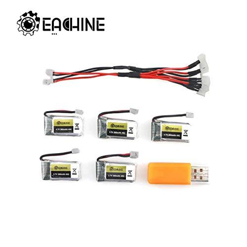 EACHINE E010 Batteries, 3.7V 260MAH 45C Lipo Battery USB Cable Charger Set E010 E013 JJRC H36 GoolRC T36 Quadcopter
