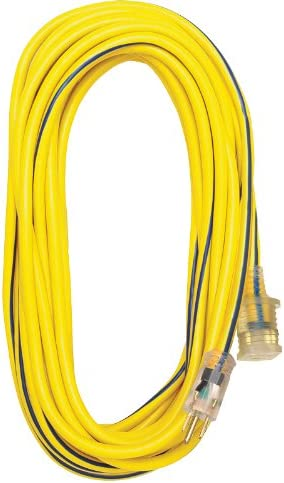 Amazon Com Voltec 05 00365 12 3 Sjtw Outdoor Extension Cord With Lighted End 50 Foot Yellow With Blue Stripe Generator Cord Sets And Plugs Garden Outdoor